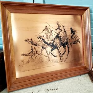 Egyptian Framed Copper Etching Camel Race Signed